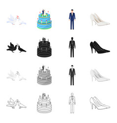 Pigeons wedding cake groom bride s shoes vector
