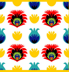 Polish folk tile pattern with traditional seamless vector