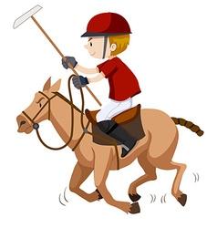 Polo player riding on horse vector