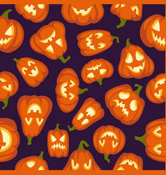 pumpkin pattern seamless halloween background vector image