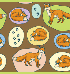 red foxes seamless pattern vector image