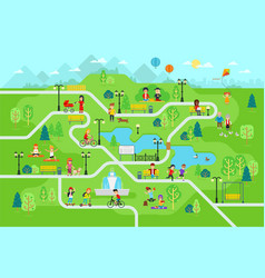 Rest in the park map infographic elements in flat vector