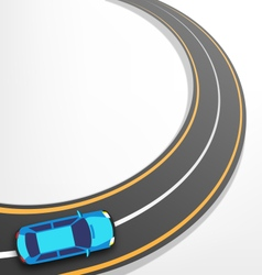 Road with Car on White vector