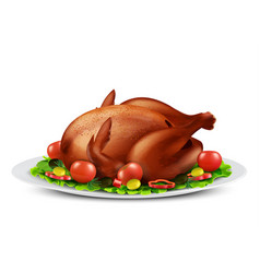 Roasted turkey or chicken with vegetables vector