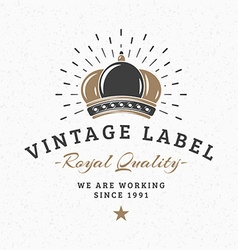 Royal Crown Vintage Retro Design Elements for vector image