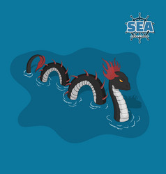 Sea serpent in isometric style ocean monster vector