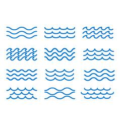 sea wave outline elements vector image