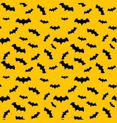 Seamless pattern yellow background with bat vector