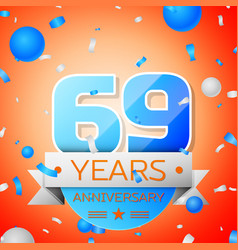 Sixty nine years anniversary celebration vector