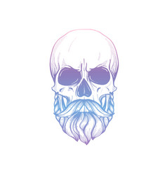 Sketch skull with moustaches and beard vector