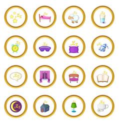 Sleep symbols icons circle vector