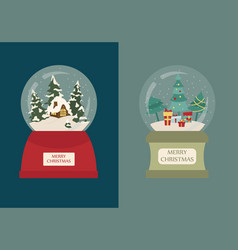 snow globe icon set elements for christmas vector image