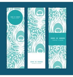 Soft peacock feathers vertical banners set pattern vector