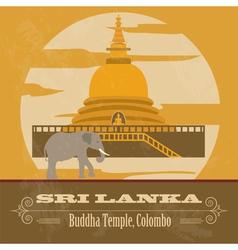 Sri Lanka landmarks Retro styled image vector image