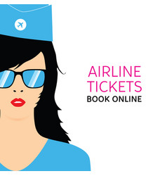 stewardess in blue uniforms with booking online vector image