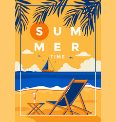 summer background flat design summer time vector image