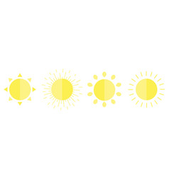 Sun shining icon set line cute cartoon funny vector