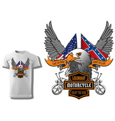 T-shirt design with eagle head and flags vector