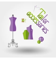 Tailor accessories Icons vector image