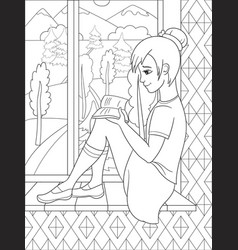 The beautiful girl sitting on a windowsill and vector
