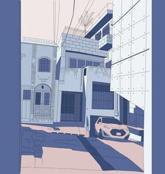 Tokyo courtyard color car in vector