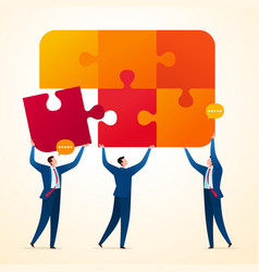 uniting business puzzle vector image