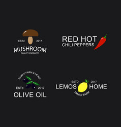 vintage mushroom red pepper olive and lemon logo vector image