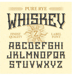 whiskey label vintage font with sample design vector image