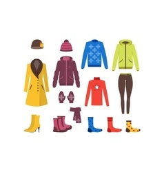 Winter Clothing Woman Set vector