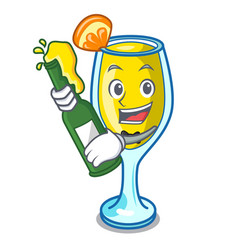 With beer mimosa mascot cartoon style vector
