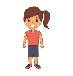 Young girl kid character standing cartoon vector