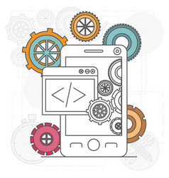 background with smartphone apps and tools for vector image vector image