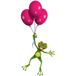 Frog in balloons vector image