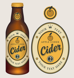 label for apple cider with crown and inscription vector image
