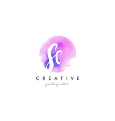 sc watercolor letter logo design with purple vector image vector image