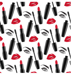 seamless pattern red lips and lipsticks mascara vector image vector image