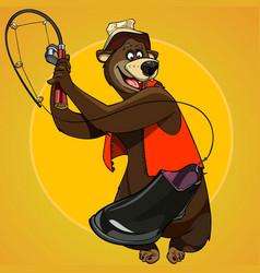 cartoon character bear fisherman caught the bait vector image vector image