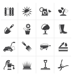 Black Gardening tools and objects icons vector image vector image