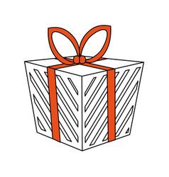 color silhouette image cartoon christmas giftbox vector image