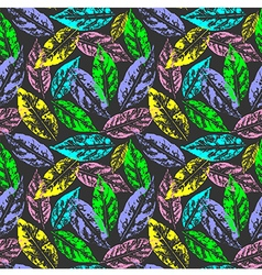 Grunge leaves seamless pattern vector image