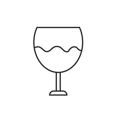 icon of a glass with wine contour drawing without vector image vector image