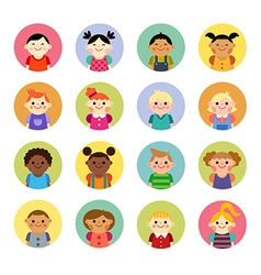 Multicultural national children avatars vector image vector image