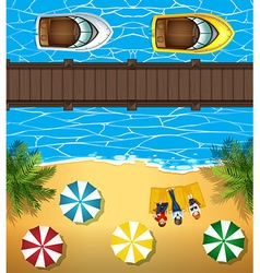 People on the beach and boats in the sea vector image vector image