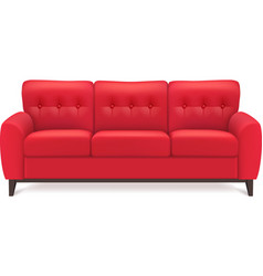 Red Leather Sofa Realistic vector image vector image