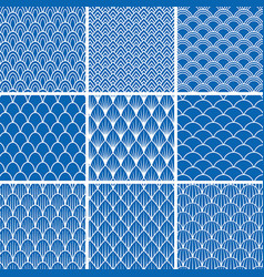 set of seamless backgrounds from fish scales vector image