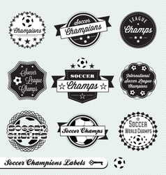 Soccer Champs Labels vector image vector image