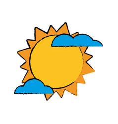 sun cloud weater symbol vector image
