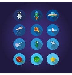 12 Space icons set in cirkle vector image vector image