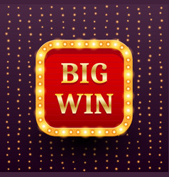 big win retro banner template with glowing vector image vector image