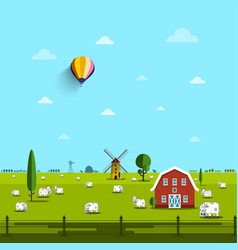 Farm with cows on field rural scene vector